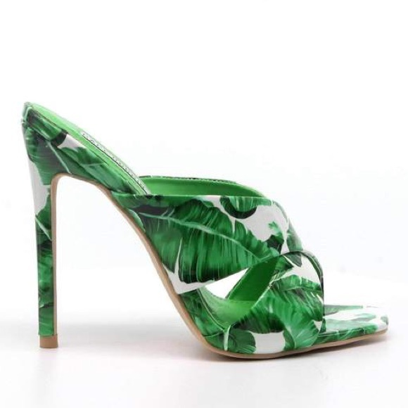 8ac1daa78 Shoes | Monstera Palm Tropical Green Stiletto Heels | Poshmark